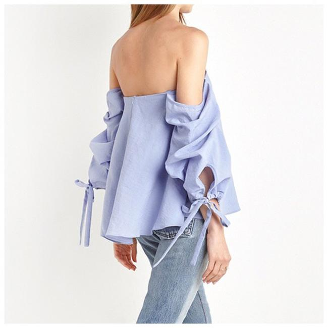 Other Off The Shoulder Side Sleeve Ruffle Top Blue Image 3