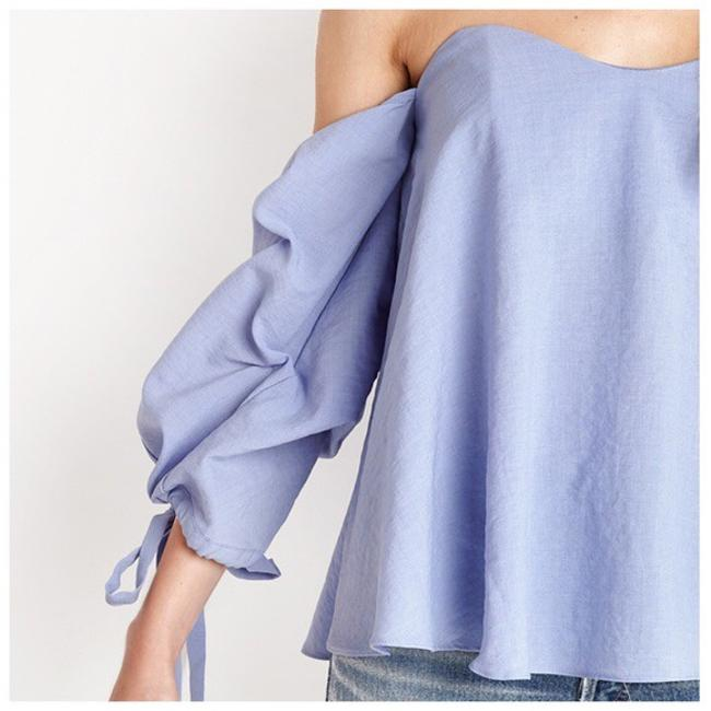 Other Off The Shoulder Side Sleeve Ruffle Top Blue Image 4