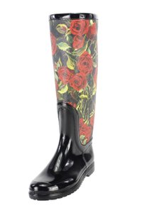 Dolce&Gabbana Floral Black Red Roses Water-resistant Multi-Color Boots