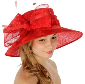 kentucky derby hat Formal Lace covered Sinamay Hat Red Dressy Church