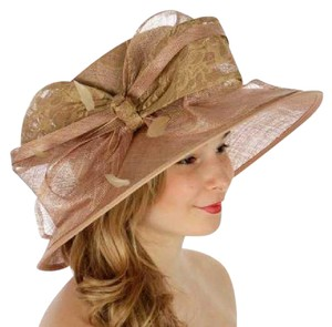 42088063b6a kentucky derby hat Formal Lace covered sinamay hat KHAKI Dressy Church