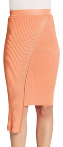Torn by Ronny Kobo Overlay Ribbed Skirt Coral Orange