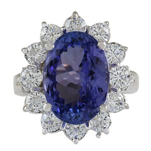 Fashion Strada 7.03CTW Natural Blue Tanzanite And Diamond Ring In 14K White Gold