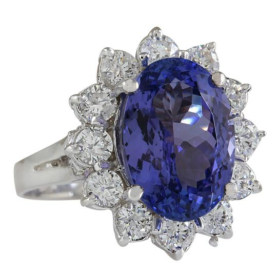 Fashion Strada 7.03CTW Natural Blue Tanzanite And Diamond Ring In 14K White Gold Image 1