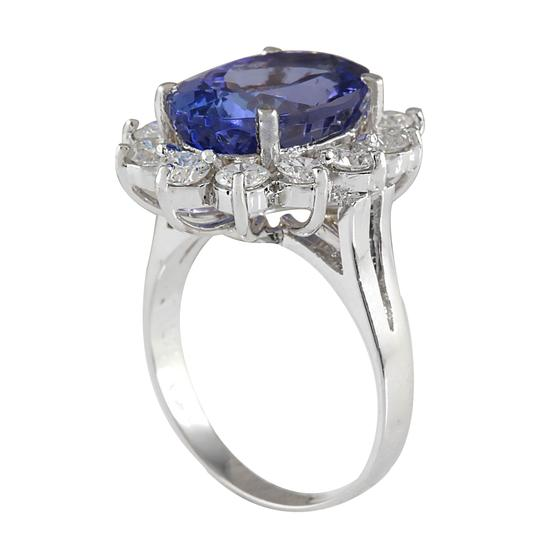 Fashion Strada 7.03CTW Natural Blue Tanzanite And Diamond Ring In 14K White Gold Image 2