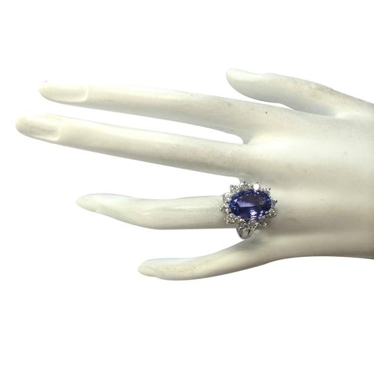 Fashion Strada 7.03CTW Natural Blue Tanzanite And Diamond Ring In 14K White Gold Image 3