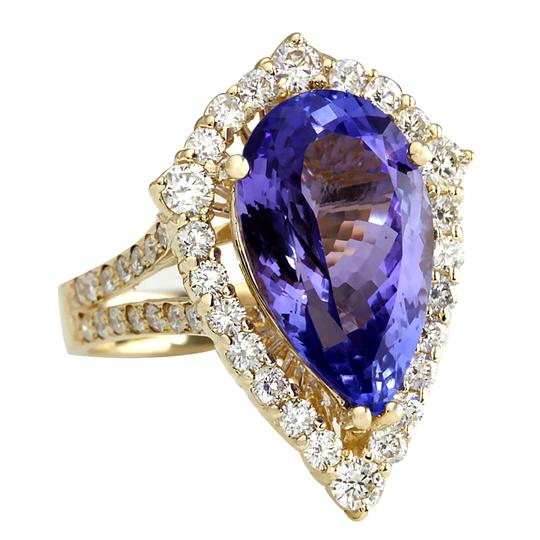 Fashion Strada 8.16 Carat Natural Tanzanite 14K Yellow Gold Diamond Ring Image 1