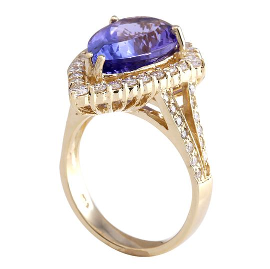 Fashion Strada 8.16 Carat Natural Tanzanite 14K Yellow Gold Diamond Ring Image 2
