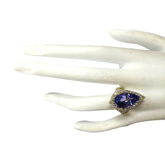 Fashion Strada 8.16 Carat Natural Tanzanite 14K Yellow Gold Diamond Ring Image 3