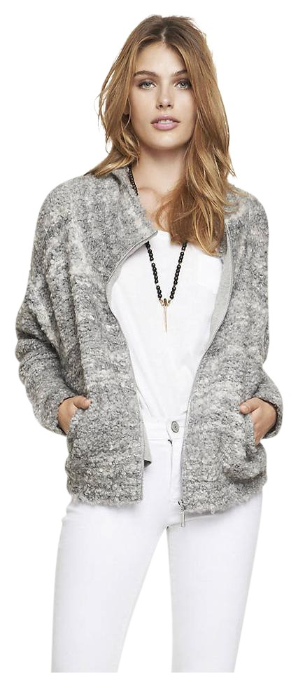 505df15566dd Express Gray Cowl Neck Boucle Sweater Jacket Size 12 (L) - Tradesy