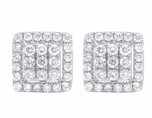 Jewelry Unlimited 14K White Gold Real Full Cut Diamond 10MM Square Halo Cluster Stud Ear