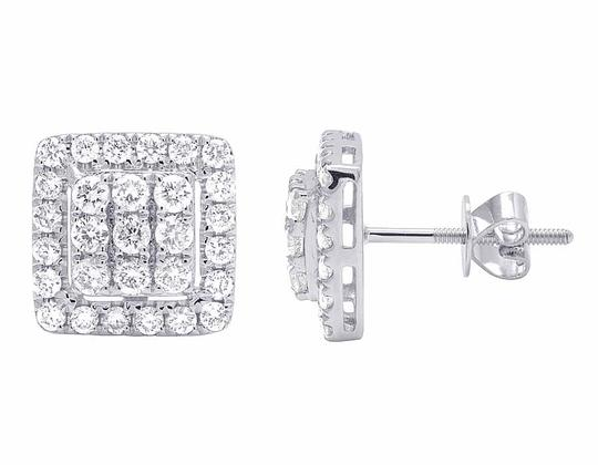 Jewelry Unlimited 14K White Gold Real Full Cut Diamond 10MM Square Halo Cluster Stud Ear Image 1