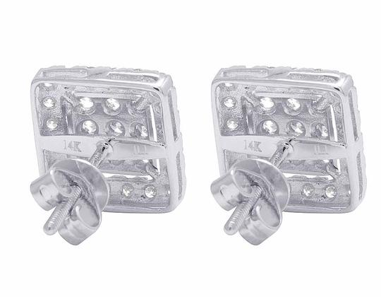 Jewelry Unlimited 14K White Gold Real Full Cut Diamond 10MM Square Halo Cluster Stud Ear Image 2