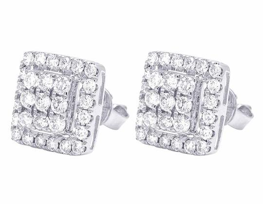 Jewelry Unlimited 14K White Gold Real Full Cut Diamond 10MM Square Halo Cluster Stud Ear Image 3