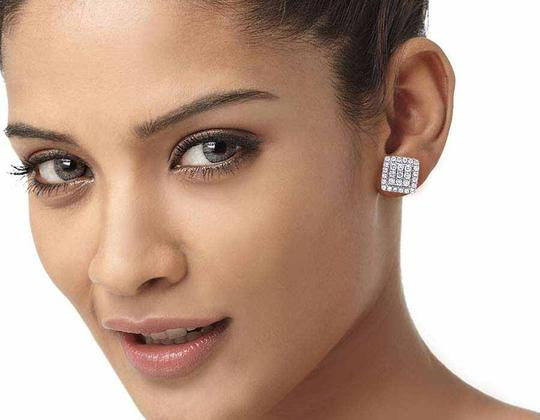 Jewelry Unlimited 14K White Gold Real Full Cut Diamond 10MM Square Halo Cluster Stud Ear Image 5