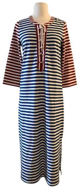 Item - Multicolor Striped Lace-up G3607 Mid-length Casual Maxi Dress Size 4 (S)