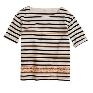 J.Crew Stitchwork Striped Embroidered T Shirt Multi-color
