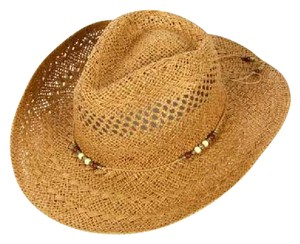 cowboy hat Open weave paper panama beads Natural Hat