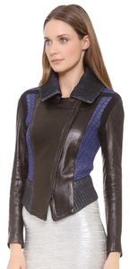 Ohne Titel Geometric Print Square Embossed Color-blocking Blue Leather Runway black Jacket