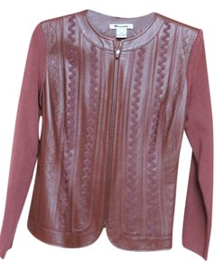 Peter Nygard Choco Leather Trimmed Chocolate brown Blazer