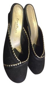 Cole Haan Black Suede with metallic gold detail Mules