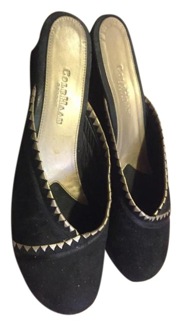 Item - Black Suede with Metallic Gold Detail Mules/Slides Size US 10 Regular (M, B)