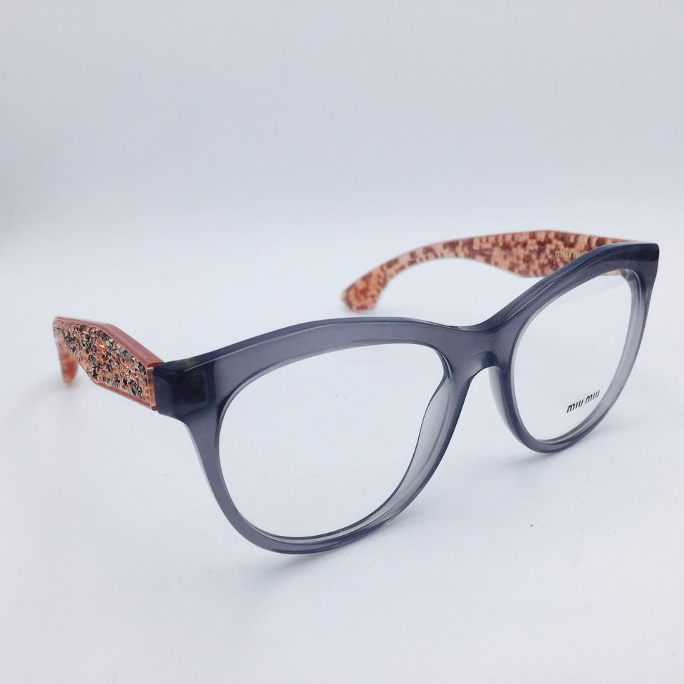Miu Miu Gray Pink Cat Eye Crystal Rx Eyeglasses Frame Vmu 08n Tky ...