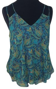 Anthropologie Top Blue, Green, Gold
