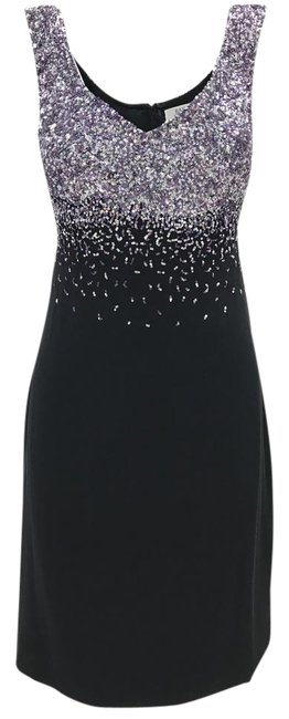 Item - Black Purple Silver Ombre Couture Sequin Mid-length Night Out Dress Size 10 (M)