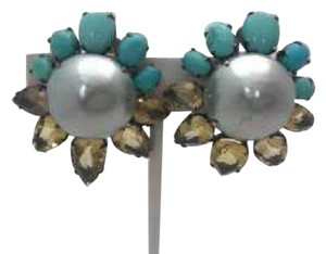iRADJ Moini NEW SIGNED IRADJ MOINI FAUX GREY PEARL TURQUOISE CITRINE EARRINGS