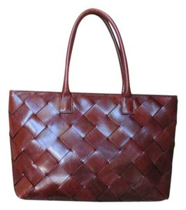 Wilsons Leather Magnetic Closure Woven Leather Tote in Chocolate brown