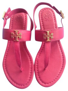 Tory Burch Summer Beach Leather Flat Pink Sandals