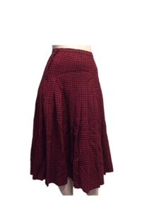 Valentino Vintage Tweed Skirt Red & Black