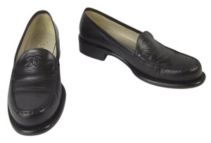 Chanel Brown Leather Cc Loafers Flats