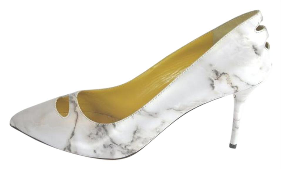 16a5b95663e Charlotte Olympia Light Grey Ada Marble-print Leather Pumps Size US ...