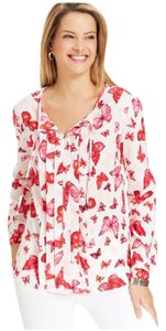 Jones New York Butterfly Printed Top White Multi