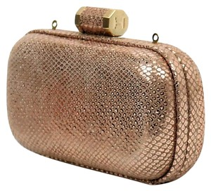 Halston Minaudiere Oblong Heritage Rose Gold Clutch