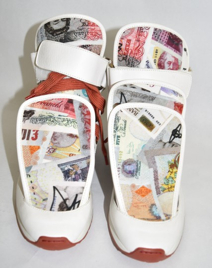 Vivienne Westwood Wedge Sneaker Lace Up white money print Athletic Image 4