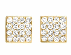 Jewelry Unlimited 14K Yellow Gold 11MM Round Cut Genuine Diamond Square Stud Earrings 1