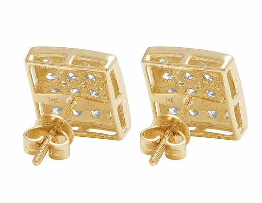 Jewelry Unlimited 14K Yellow Gold 11MM Round Cut Genuine Diamond Square Stud Earrings 1 Image 2