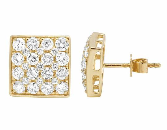 Jewelry Unlimited 14K Yellow Gold 11MM Round Cut Genuine Diamond Square Stud Earrings 1 Image 3