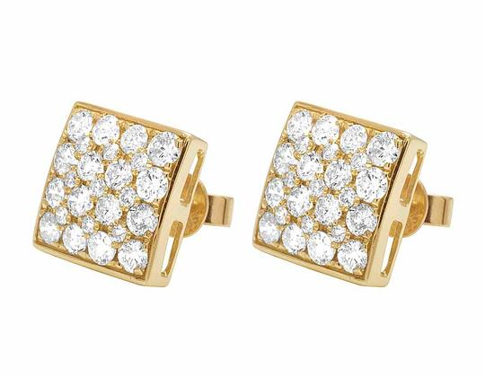 Jewelry Unlimited 14K Yellow Gold 11MM Round Cut Genuine Diamond Square Stud Earrings 1 Image 4