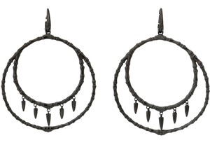 Stephen Webster Stephen Webster black silver Jewels Verne Women's Bone hoop earrings