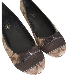 Coach Bowtie Logo Brown Flats