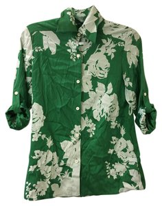 Alice + Olivia Button Down Shirt Green and White