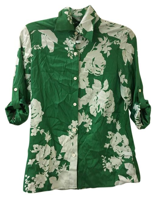 Item - Green and White Button-down Top Size 4 (S)