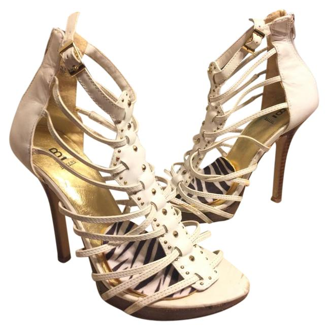 """Item - White/Gold Leather/Gold Accented 4.5"""" Gladiator Sandals Size US 6 Regular (M, B)"""