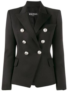 Balmain Double Breasted Blaz Wool Black Jacket