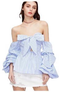 Other Striped Bow Ruffle Top Blue