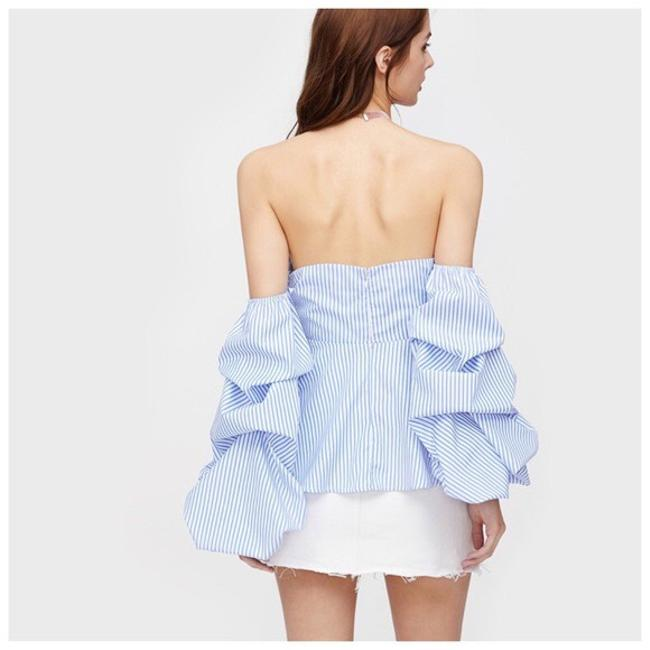 Other Striped Bow Ruffle Top Blue Image 1